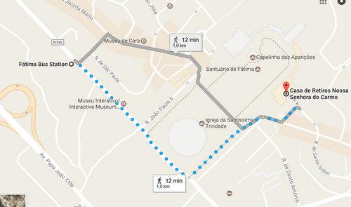 Pèlerinage à Fatima : Trajet de la gare de bus à la Casa Do Carmo